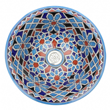 Moroccan Washbasin Sink Ceramic Wash Basin Hand Painted Blue 40 cm  15.7'' Free Waste Included SW707